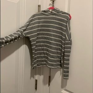 grey white striped hoodie and open shoulders